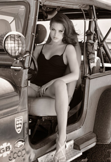 jeep girl bw