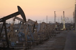 Rig pumpjacks extract crude oil from a Wilmington Field deposit right outside of Long Beach