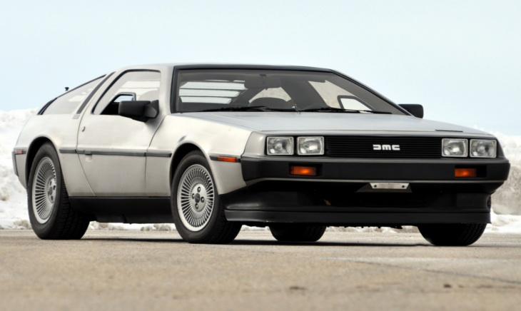The DeLorean parked on an empty road