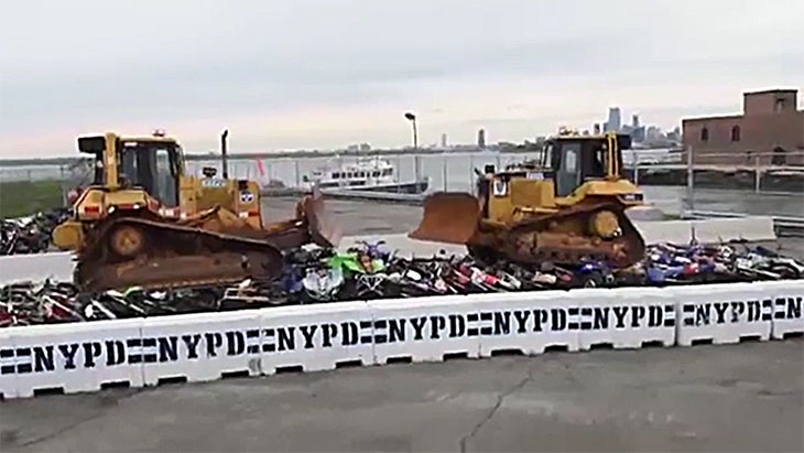 nypd live streams destruction of hundred of illegal bikes blog image