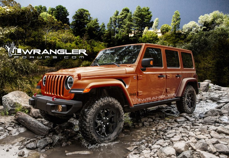 An orange rendering of the new 2018 Wrangler JL based on